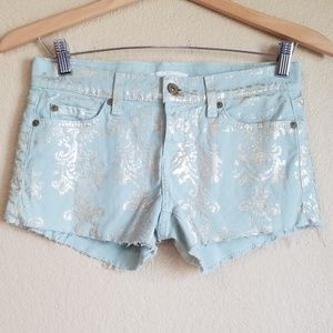 7 For All Mankind Mint Green and Gold Denim Shorts